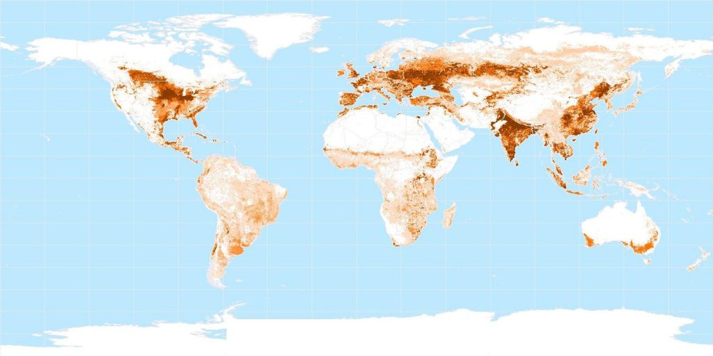 Croplands of the world