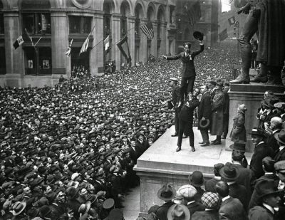 Promoting Liberty Bonds Douglas Fairbanks Jr Holds up Charlie Chaplin 1918