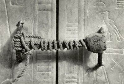 The unbroken seal of the tomb of Tutankhamun, untouched for over 3000 years