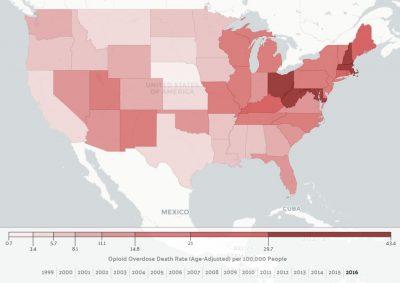 US age Adjusted drug overdose rate per 100000 people