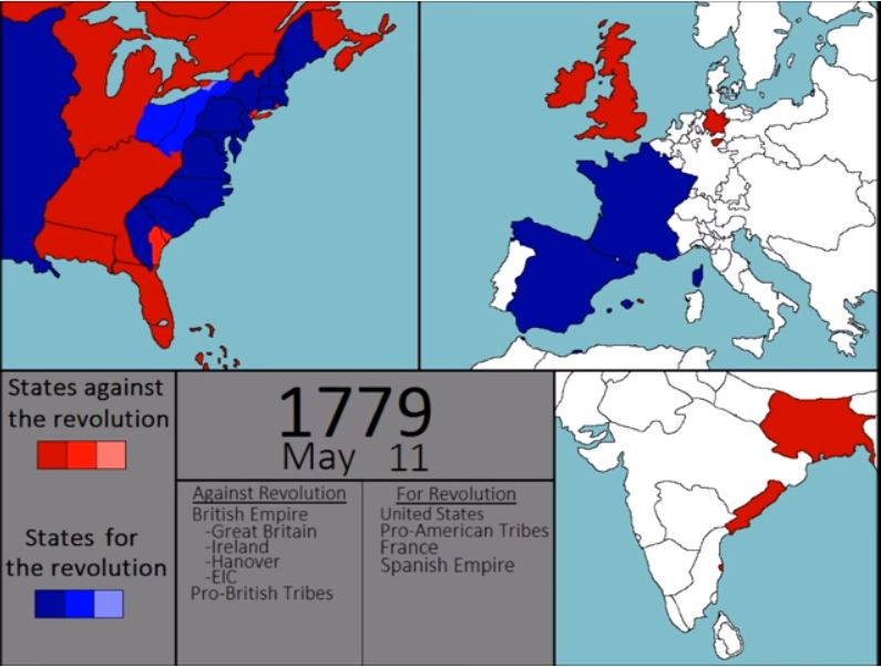 Map Of The Day Every Week Of The American War Of Independence The - Map-of-us-during-revolutionary-war