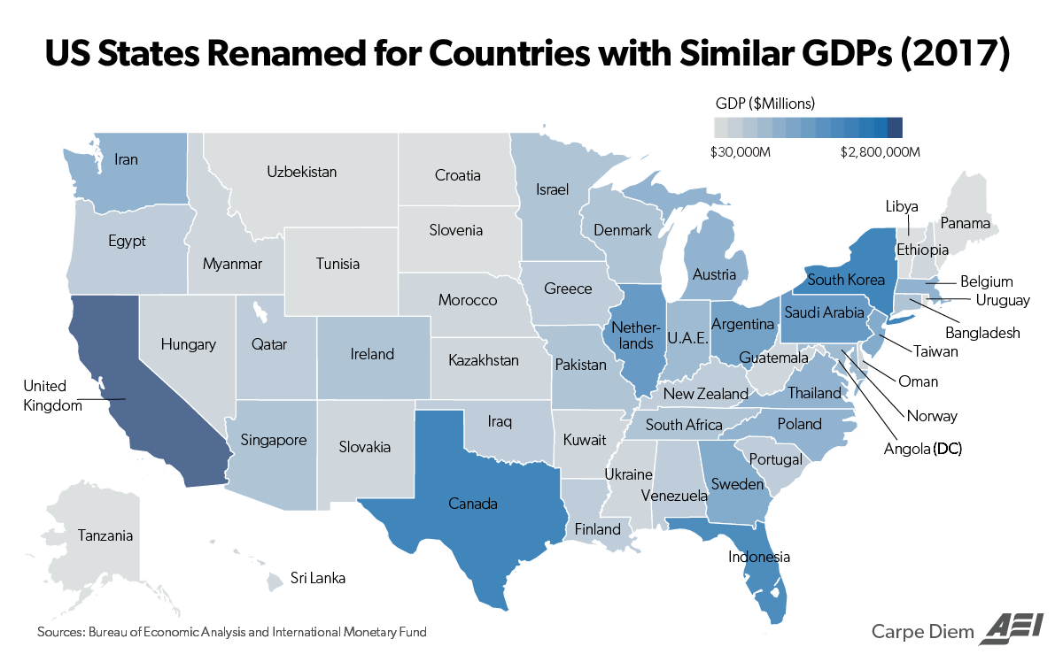 Map of the Day: US States Renamed as Countries with Similar GDPs ...