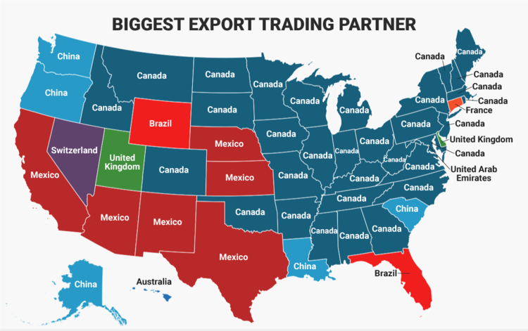 Map of the Day: the Top Export Trading Partner for Every ... Union State Map on confederate states of america, fort sumter, tornado weather map, red state blue state map, ottoman empire map, gettysburg address, william tecumseh sherman, second battle of bull run, union of america, american civil war, union civil war, battle of chancellorsville, union army, border states, usa border map, mo state map, indian tribe map, assassination of abraham lincoln, battle of shiloh, battle of gettysburg, battle of fredericksburg, native american reservations today map, battle of appomattox courthouse, virginia state map, union state of russia and belarus, united states of america, battle of vicksburg, usa geography map, post ussr map, battle of fort sumter, union strength by state, stonewall jackson, union territories remaining on, robert e. lee, us demographic map, saarc countries map, us territories map, ancient india map, mo river map,